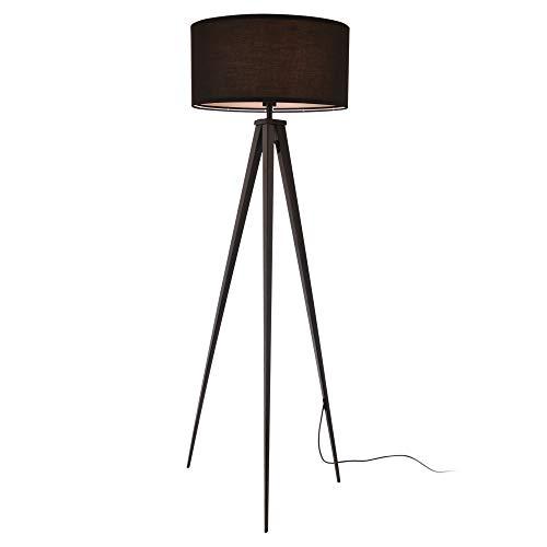 [lux.pro] Lámpara de pie Trípode Faro Moderna Diseño Altura 153 cm Iluminación Interior Luz efectiva Negro 1 x E27