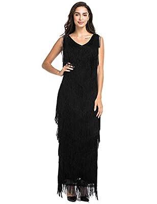 PrettyGuide Women's Flapper Dress Inspired Tiered Fringed Long Prom Evening Dress