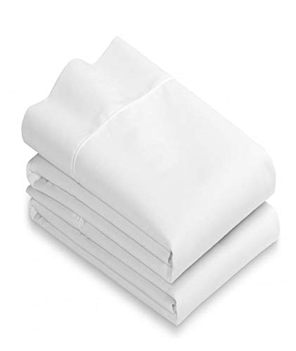 White Cotton Standard Pillowcases Set of 2-200TC Heavy Weight Quality, Elegant Double Stitched Tailoring, Reduces Allergies and Respiratory Irritation