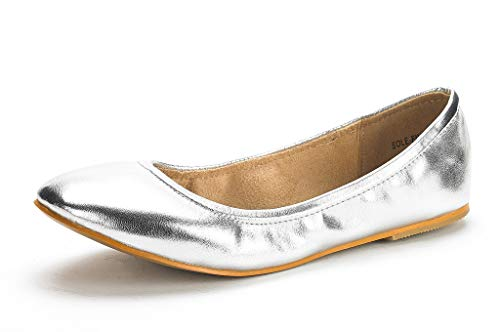 DREAM PAIRS Women's Sole-Fina Silver Pu Solid Plain Ballet Flats Shoes - 10 M US