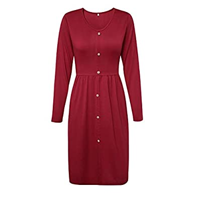 Amazon - 45% Off on Women's Casual Long Sleeve Button Down A-Line Midi Dress with Tie Waist Belt