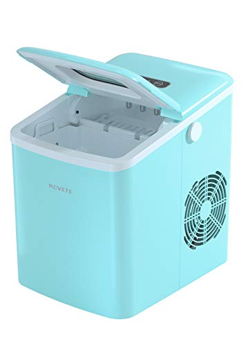 Ice Maker, NOVETE Portable Ice Maker Machine for Countertop, 9 Cubes Ready in 6 Minutes, 28.7 lbs Ice in 24 Hours Home Mini Ice Machine with Ice Scoop and Basket, for Parties Mixed Drinks, Aqua