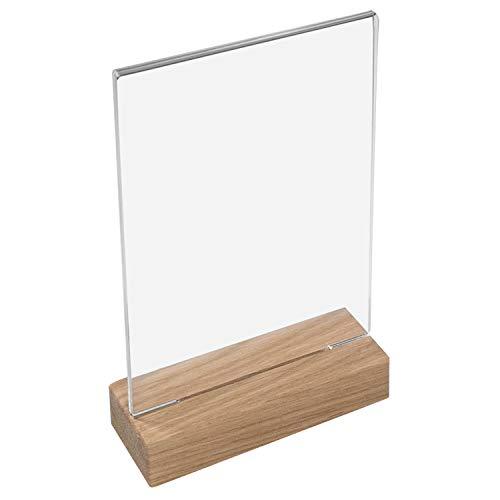 HMF 46942 Acryl Tischaufsteller mit Holzfuß | DIN A5 Hochformat | Glasklar