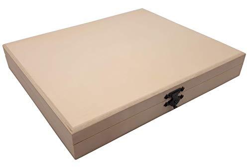 benelea | Holzbox Holzkiste mit Deckel | 27 x 22,5 x 4,2 cm Holzschatulle | Holzkisten, Schachtel Holzschatulle, Kiste zur Aufbewahrung | Holztruhe als Geschenkidee zum bemalen, basteln und verzieren