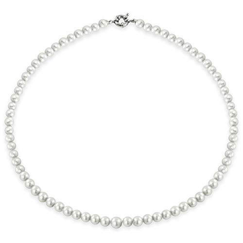 inSCINTILLE Collana Girocollo di Perle Donna con Chiusura Argentata - Vari Colori e Dimensioni