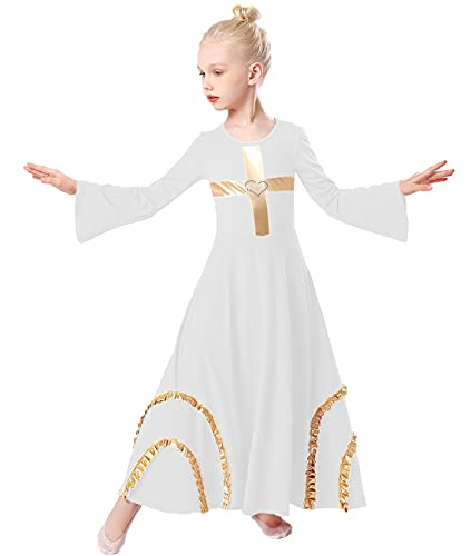 HIHCBF Kids Girls Praise Dance Cross Robe Bell Sleeve Worship Dress...