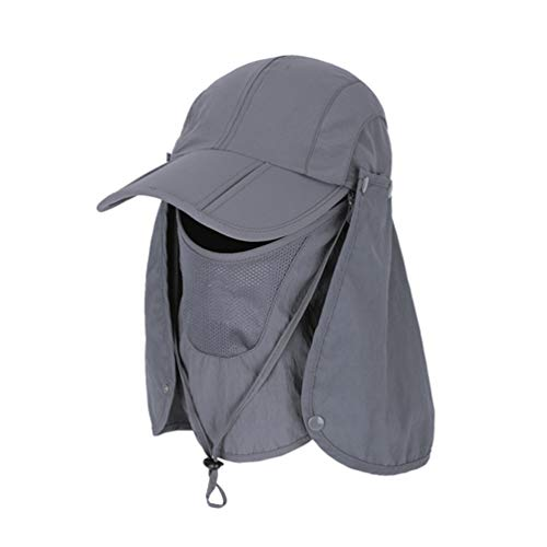 LIOOBO Protector Solar Cuello Cubierta Sombrero Desmontable Color Sólido Tapa de Secado Rápido Sombreros Anti-UV Protección Solar Sombrero para Montañismo Camping Al Aire Libre