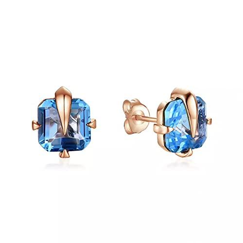 WLLLTY Pendientes de botón de Cristal de topacio Azul Pendientes de Mujer 585 Pendientes de Oro Rosa para Mujer Joyería