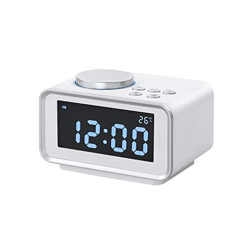 Digitale Led nachtkastmodus, groot scherm Electronic wekker, Dual Alarm instelling, instelbare helderheid, Temperatuur Display Bureau klokken, voor het bed of Kitchen,White