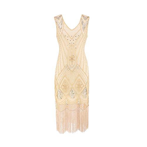 SANFASHION Damen Kleid Retro 1920s Stil Flapper Kleider voller Pailletten Runder Ausschnitt Great Gatsby Motto Party Kleider Damen Kostüm Kleid