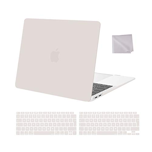 MOSISO MacBook Air 13 inch Case 2020 2019 2018 Release A2337 M1 A2179 A1932, Plastic Hard Shell Case&Keyboard Cover&Wipe Cloth Compatible with MacBook Air 13 inch with Retina Display, Rock Gray