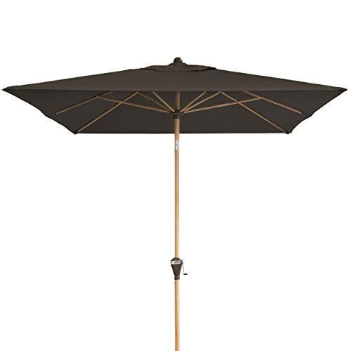 Doppler Alu Wood – Rechteckiger Sonnenschirm für Balkon und Terrasse – Edle Holzoptik – 300x200 cm – Anthrazit