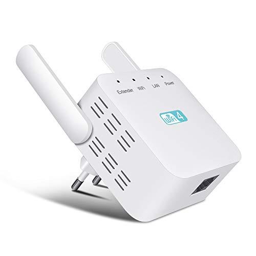WLAN Repeater,WLAN Verstärker 300Mbit/s 2,4GHz WLAN-Repeater WiFi Repeater mit LAN-Port Funktion,Unterstützt AP/Repeater Modus,WLAN Verstaerker Kompatibel zu Allen WLAN Geräten