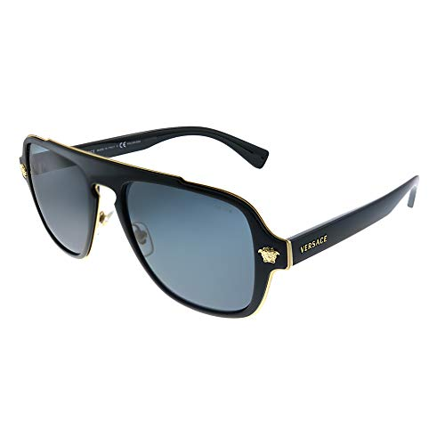 Versace Medusa Charm VE 2199 100281 Black Plastic Aviator Sunglasses Grey Polarized Lens