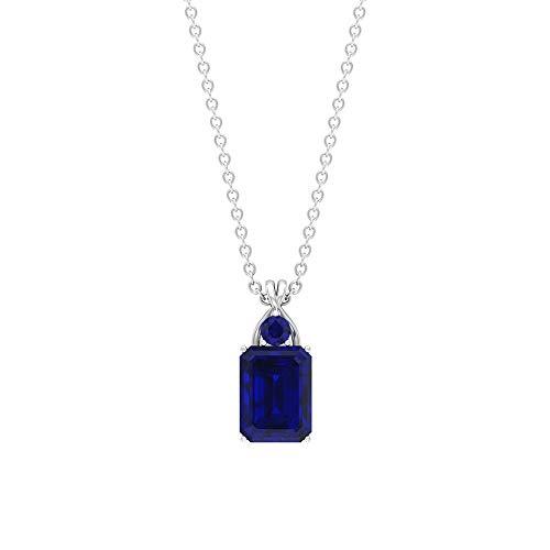 Rosec Jewels 92.5 plata de ley redonda Octagone Blue Zafiro azul creado en laboratorio.