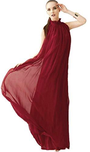 ERGEOB Damen Sommer Kleid Elegante Cocktail Party Floral Kleider Maxi ärmellosen Chiffon Abendkleid Strandkleid Weinrot