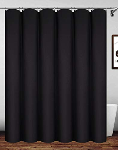Homehold Waterproof Polyester Shower Curtain with Hooks, 180 x 180cm Black Bath Curtain