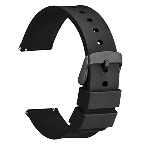 WOCCI 22mm Silikon Gummi Uhrenarmband mit Schwarzer Schnalle, Schnellverschluss Ersatzarmband (Schwarz)