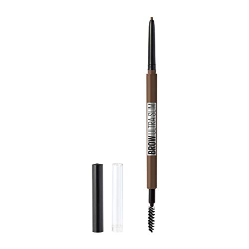 Maybelline New York Brow Ultra Slim Defining Eyebrow Makeup Mechanical Pencil With 1.55 MM Tip & Blending Spoolie For Precisely Defined Eyebrows, Medium Brown, 0.003 oz.
