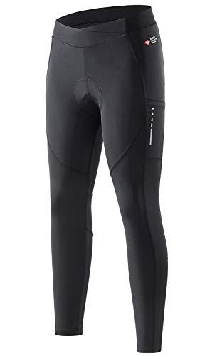 Santic Fahrradhose Lang Damen Radlerhose Gepolstert Leggings Tights Sitzpolster Elastische Schnell Trocknend Atmungsaktive XL