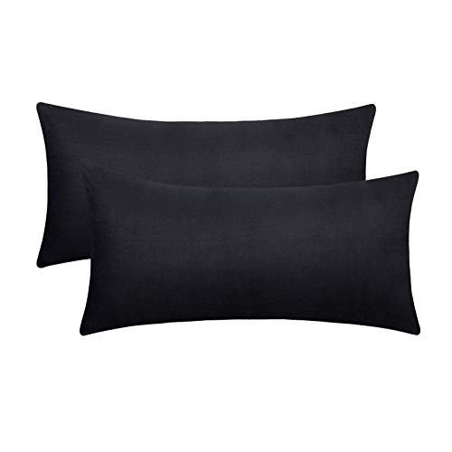 eletecpro - Funda de almohada de 100% microfibra con cierre de hotel, funda de almohada súper suave, color resistente, hipoalergénica, funda de almohada hipoalergénica, Negro , 40x60cm-2er