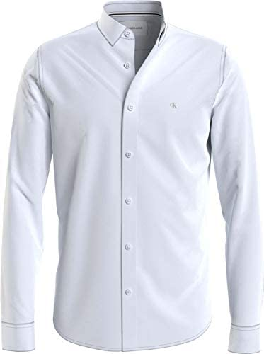 Calvin Klein CK Chest Logo Slim Stretch Shirt Camisa para Hombre