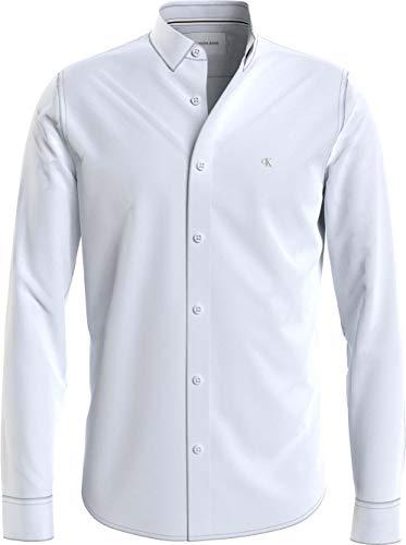 Calvin Klein Jeans CK Chest Logo Slim Stretch Shirt Camisa, Blanco Brillante, L para Hombre