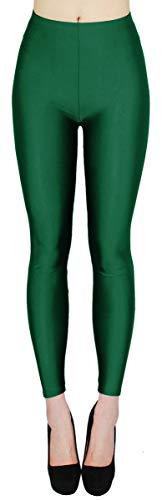 dy_mode Damen Glanz Leggings Tanz Leggings glänzend bunt - JL116 (One Size - geeignet für Gr.36-38, JL116-Dunkelgrün)
