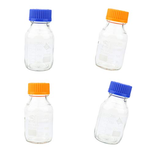 #N/A 4 Stück 250ml Glas Laborflasche Reagenzflasche mit Schraubverschluss