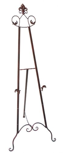 Designstyles Decorative Metal Easel Stand – Adjustable Floor Display for Art Pieces, Signs, Mirrors and Chalk/Dry Erase Boards - 59' Tall, Antique Finished Iron, Bronze – Royal Accents