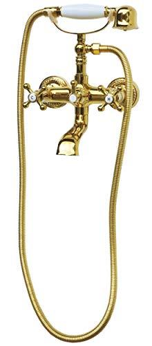 Retro Badewannenset Mischbatterie Badewanne Badewannenarmatur Kreuzgriff Armatur Handbrause Duschbrause Zweigriffmischer Gold