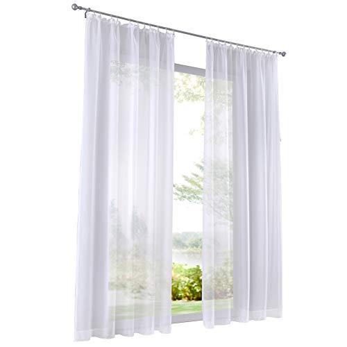 Home U 1 Pièce Rideau Voilage Couleur Uni à Galon Fronceur Décoration de Fenêtre (LxH 140x145cm, Blanc)