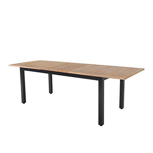 Strandgut07 - Mesa extensible con estructura de aluminio y tablero de acacia, certificado FSC, 140-180 × 90 × 74-76,5 cm
