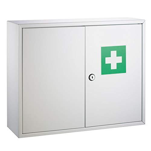 Erste Hilfe Verbandsschrank weiß lackiert DR-Büro 1780 - mit Zwischenwand und einem Boden - Maße 45x15x36 cm - inkl. Befestigungsmaterial - abschließbar