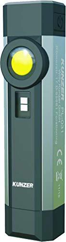 KUNZER (PL-031) Arbeitslampe - COB-Technik Werkstatt-Taschen-Leuchte - 250lm Lichtstärke und 10h Leuchtdauer - UV-Licht