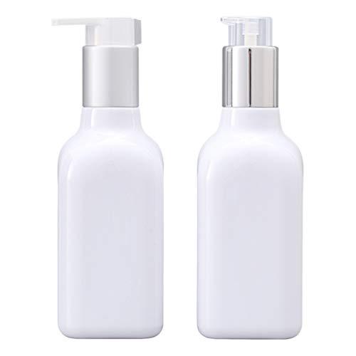 Cabilock 2 Stücke Pumpenflasche Weiß Pumpspender Seifespender Leer Nachfüllbar Reiseflasche Handgel Gelspender Flasche für Küche Bad Außen 200ml (Pattern 2)