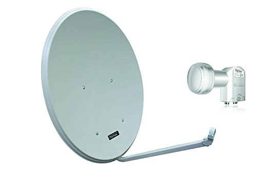 Opticum LH80 SAT Antenne Aluminium, Farbe: Lichtgrau mit Opticum Twin LNB LTP-04H