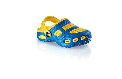 Fashy 7402- Ultraleichte Kinderclogs Gr. 18-23 Clogs Badeschuhe 3 verschiedene Farben (20, blau/gelb)