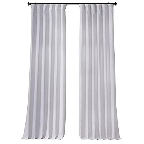 HPD Half Price Drapes FHLCH-VET13191-96 Heavy Faux Linen Curtain (1 Panel), 50 X 96, Rice White
