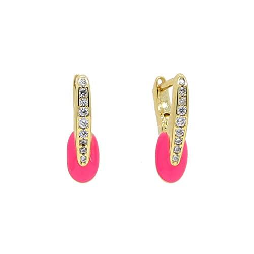 SALAN Color Dorado Arco Iris Cany Neon Esmalte Moda Chica Mujer Joyería Cz Círculo Pequeño Aros Multi Piercing Pendiente Nuevo