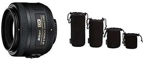 Nikon AF-S DX Nikkor 35mm 1:1,8G Objektiv (52mm Filtergewinde) Amazon Basics - Wasserdichte Schutzbeutel für Kamerobjektiv