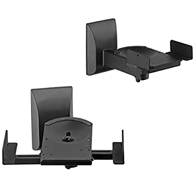 Suptek Dual Side Clamping Bookshelf Speaker Wall Mounting Bracket for Large Surrounding Sound Speakers, Hold up to 25kgs Each Black SPM201 from Yuanfan TV Mount