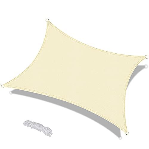 OKAWADACH Voile d'ombrage Rectangulaire 3x4m Crème Voile de Soleil Imperméable Une Protection des Rayons UV à 95% pour Extérieur Terrasse Jardin Camping Fête Piscine avec Cordes