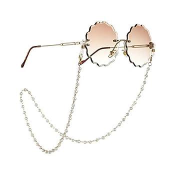 Beaded Eyeglass Chain Sunglasses Holder Strap Eyewear Retainer Lanyard  Pearl 4 with golden chain