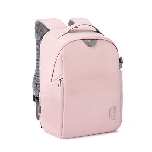 BAGSMART Camera Backpack, DSLR SLR Camera Bag Fits up to 14 Inch Laptop Water Resistant with Rain Cover, Tripod Holder for Women and Girls, Pink