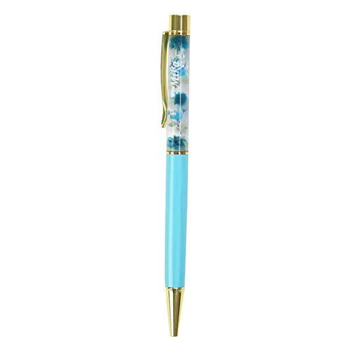 名入れ 「ハーバリウム ペン」 ボールペン 母の日(ブルー×ライトブルー)