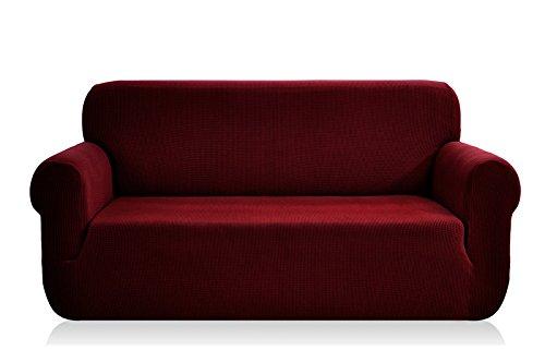E EBETA Elastisch Sofa Überwürfe Sofabezug, Stretch Sofahusse Sofa Abdeckung Hussen für Sofa, Couch, Sessel 2 Sitzer (Weinrot, 145-185 cm)