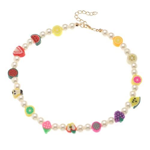 Bohemian Bead Pearl Choker Necklace for Women Girl Teen Men Handmade Colorful Seed Beaded Boho Choker Y2K Jewelry (Fruit Salad)