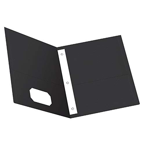 Oxford Two-Pocket Folders w/Fasteners, Black, Letter Size, 25 per Box (57706)