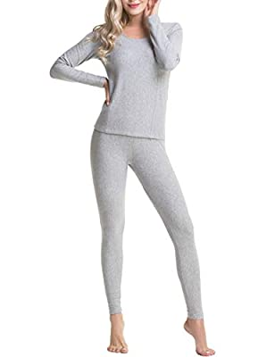 AIFER Women's Crewneck Thermal Underwear Long Johns Set with Long Sleeve Tops & Fleece Lined Bottoms